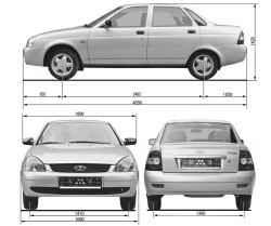 Габаритные размеры автомобиля Lada Priora (мм)