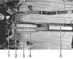 Расположение элементов системы выпуска отработавших газов в передней части автомобиля